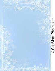 Blue gradient winter paper background with snowflake border