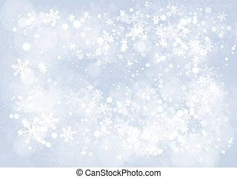 Blue gradient winter paper background with the snow and snowflake border