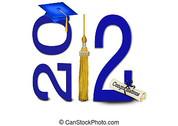 Blue graduation hat with gold tassel and diploma for class of 2012.
