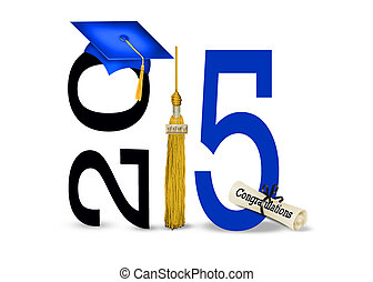 blue graduation cap for 2015 - Blue graduation cap with gold...