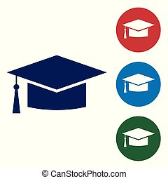 Blue Graduation cap icon isolated on white background. Graduation hat with tassel icon. Set color icon in circle buttons. Vector Illustration