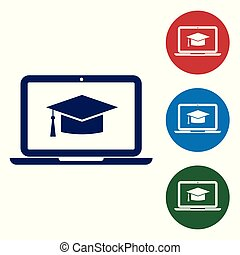 Blue Graduation cap on screen laptop icon isolated on white background. Online learning or e-learning concept. Set color icon in circle buttons. Vector Illustration