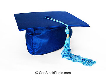 Blue Graduation Cap or Mortarboard Isolated on White Background