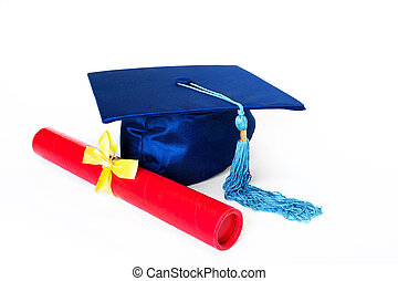Blue Graduation Cap With Diploma Isolated on White Background