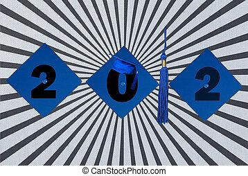 blue graduation caps