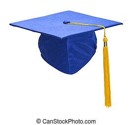 Blue Graduation Hat Front - Blue Graduation Hat with Gold...