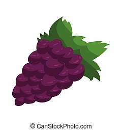 Blue grapes bunch icon, cartoon style