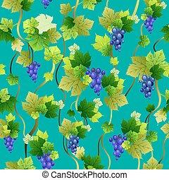 Blue grapes seamless pattern