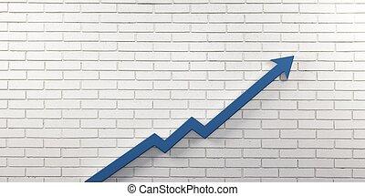 Blue Graph Arrow of Improvement Wall. 3D Render...