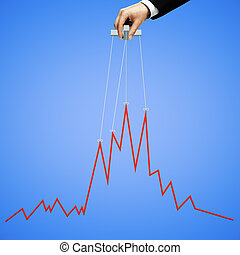 Blue graph manipulating - Businessman hand manipulating...