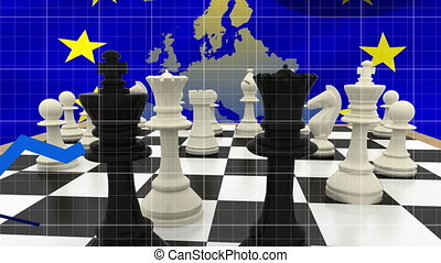 Animation of map of Europe, European Union flag with yellow stars, chess and blue lines on blue background. European community economy concept digitally generated image.