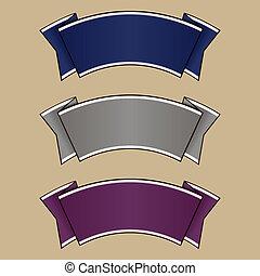 Blue, gray and purple ribbon set. Vector