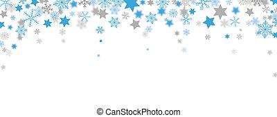 Blue Gray Christmas Headline Snowflakes Stars - Snowflakes...