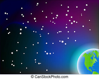 Blue grean planet on space background