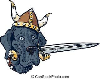 Blue Great Dane cartoon mascot head
