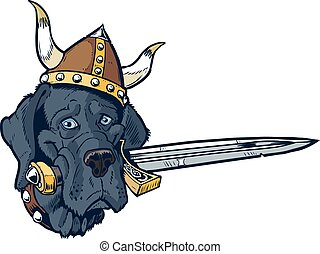 Blue Great Dane cartoon mascot head - Vector cartoon clip ...