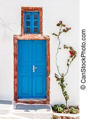 Greek house door in Santorini
