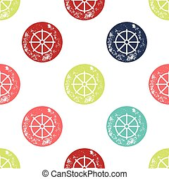Blue, Green and Red Ship Helm on White Background