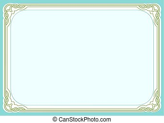 Blue green background and frame