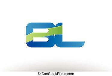 blue green bl b l alphabet letter logo combination icon...