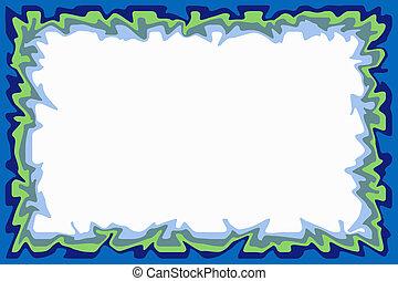 Blue green border - Irregular border of blue and green