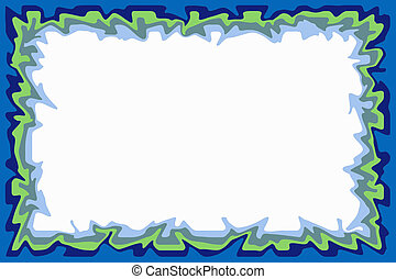 Blue green border - Irregular border of blue and green