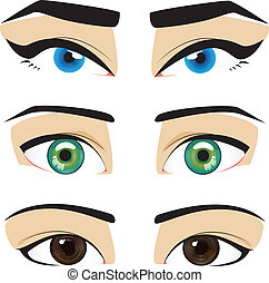 blue green brown eyes