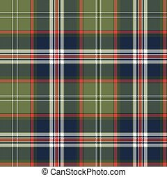 Blue green check plaid seamless pattern