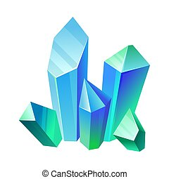 Blue-green crystals. Vector illustration on a white background.