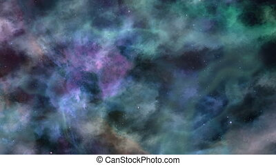 Blue-green Dark Space In Motion