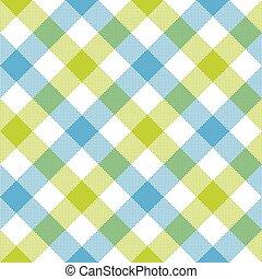 Blue green diagonal checkered plaid seamless pattern. Vector...