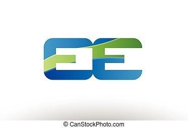 blue green ee e e alphabet letter logo combination icon...