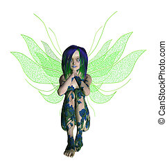 Blue Green Flower Fairy