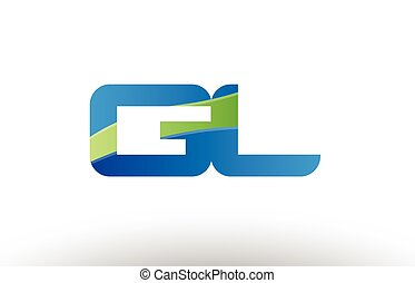 blue green gl g l alphabet letter logo combination icon...