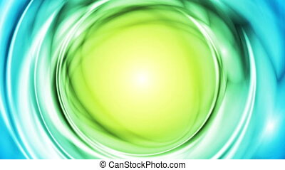 Blue green iridescent flowing circles video animation