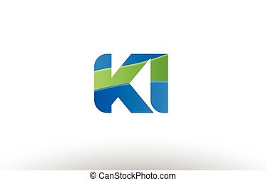 blue green ki k i alphabet letter logo combination icon...