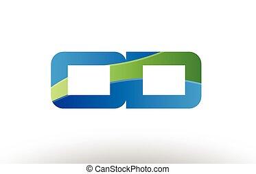 blue green od o d alphabet letter logo combination icon...