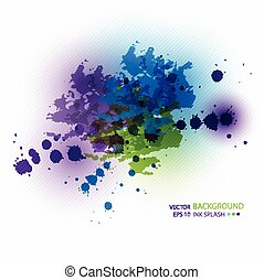 Blue, green, purple ink stains on white paper.