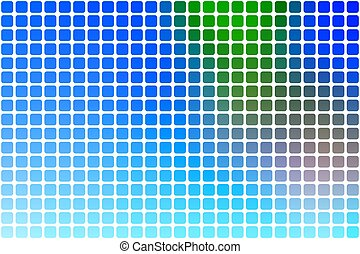 Blue green red abstract rounded mosaic background over white