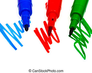 blue, green, red felt pens