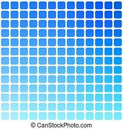 Blue green red rounded mosaic background over white square