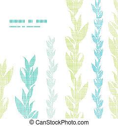 Blue green seaweed vines frame corner pattern background