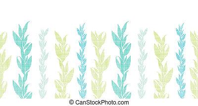 Blue green seaweed vines horizontal seamless pattern...