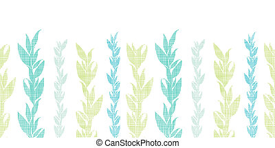 Blue green seaweed vines horizontal seamless pattern...