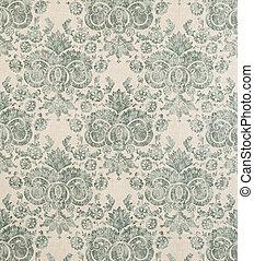Blue Green Vintage Pattern Wallpaper Swatch