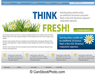Blue-green website with flowers in grass
