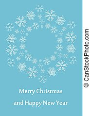 blue greeting card for christmas - vector leaflet