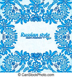 Blue greeting card template with floral pattern in gzhel style