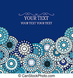 Blue greeting card with geometric oriental ornaments