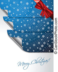 Blue greeting card with stickers shaping christmas tree